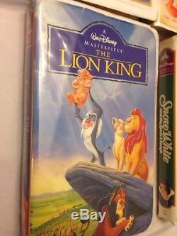 Rares Cassettes Walt Disney Vhs Films Blanche-neige Roi Lion Mulan Bambi Vente De Charité