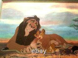 Scheming Scar & Simba Limited Ed. Disney Sericel, Lion King, New Mint Coa Encadré