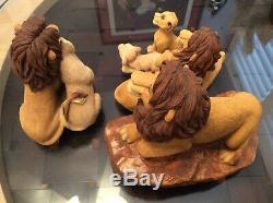 Sculptures Sandicast Le Roi Lion De Disney Signées Par Sandra Brue 5 Pièce 1994