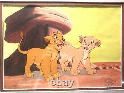 Simba Et Nala Limited. Edition Disney Sericel From Lion King Nouveau, Custom Framed