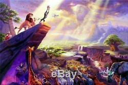 Thomas Kinkade Le Roi Lion 12 X 18 S / N Limitée Disney Toile