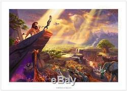 Thomas Kinkade Le Roi Lion 24 X 36 S / N Edition Limitée Papier Disney