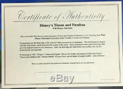 Timon Et Pumbaa Disney Tv Production Originale Cel Withcert Lion Peint À La Main Roi