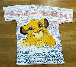 Vintage 1994 Disney The Lion King Simba All Over Print Shirt Taille 2xl Rare