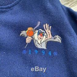 Vintage 1994 Rare Le Roi Lion Feature Animation Bomber Jacket Petit Bleu / Brown