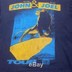 Vintage 1995 Elton John Billy Joel Roi Lion Tour T-shirt Bootleg Disney Simba Vtg