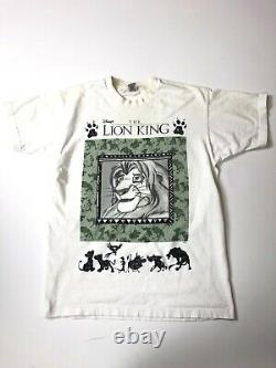 Vintage 90s Le Roi Lion Promo T-shirt Simba Nala Disney Taille XL Rare Aladdin