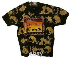 Vintage 90s The Lion King T-shirt Disney Jerry Leigh All Over Print Size L Osfa