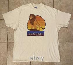 Vintage Années 90 The Lion King Promo T Shirt Simba Nala Disney Size XL Rare Aladdin