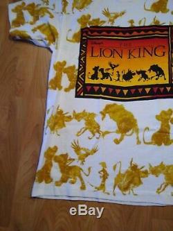 Vintage Disney Le Roi Lion All Over Imprimer Promo Blanc Tee Osfa 90 Vtg Rare