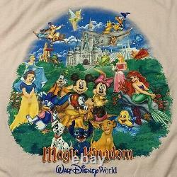 Vintage Disney World Magic Kingdom T Shirt Mens XL Lion King Alladin Jungle