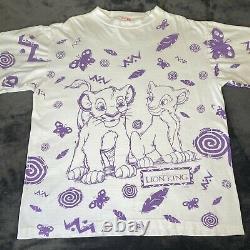 Vintage Disneys Le Roi Lion Simba Nala Aop Shirt XL Bugs Toy Story Aladdin Vtg