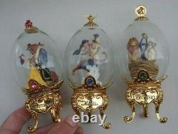 Vintage Franklin Mint Walt Disney Set D'oeufs À Pied Aladin Lion King Cendrillon