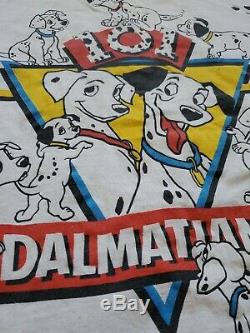 Vtg 101 Dalmatiens All Over Imprimer Disney Film Promo Shirt Lion Toy Story Roi
