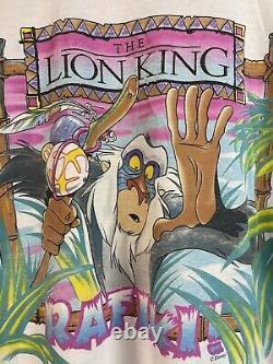 Vtg 90s Disney Lion King Rafiki Film Dessin Animé Simba Cicatrice Mufasa Afrique Chemise XL