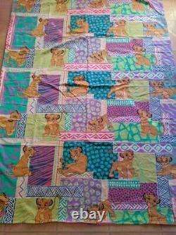 Vtg Années 90 Disney Lion King Simba Duvet Cover Fabric Sheets Literie Pastel #2