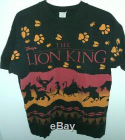 Vtg Le Roi Lion All Over Imprimee 90 Point T-shirt Disney Jerry Leigh