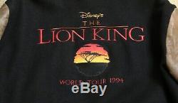 Walt Disney Lion King Équipage Official World Tour 1994 Veste Taille Cuir Laine XL