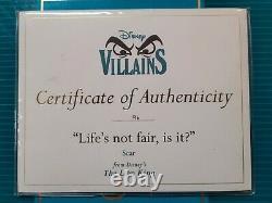 Wdcc Disney Vilians Lion King Scar Life N'est Pas Juste, Est-ce La Boîte/coa #96